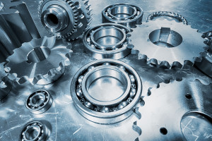 gears, cogs and ball-bearings in blue